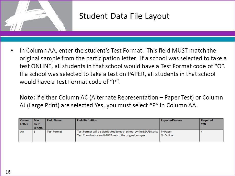 Student Data File Layout 16 In Column AA, enter the student's Test Format.