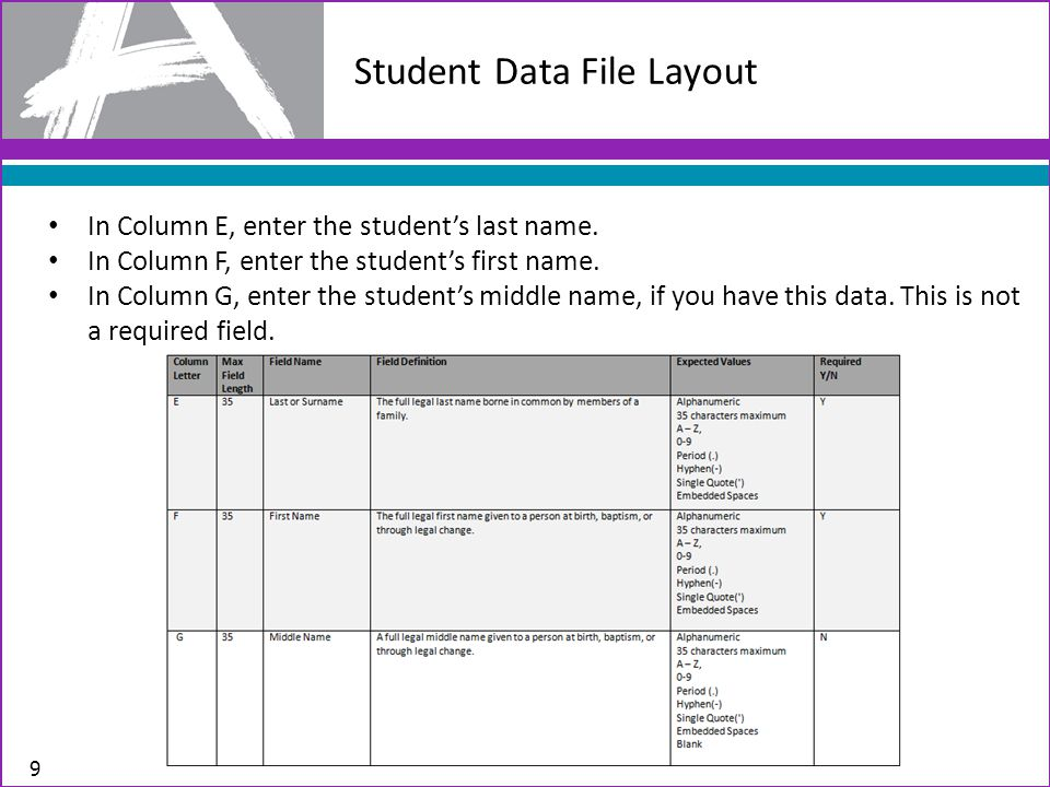 Student Data File Layout 9 In Column E, enter the student's last name.