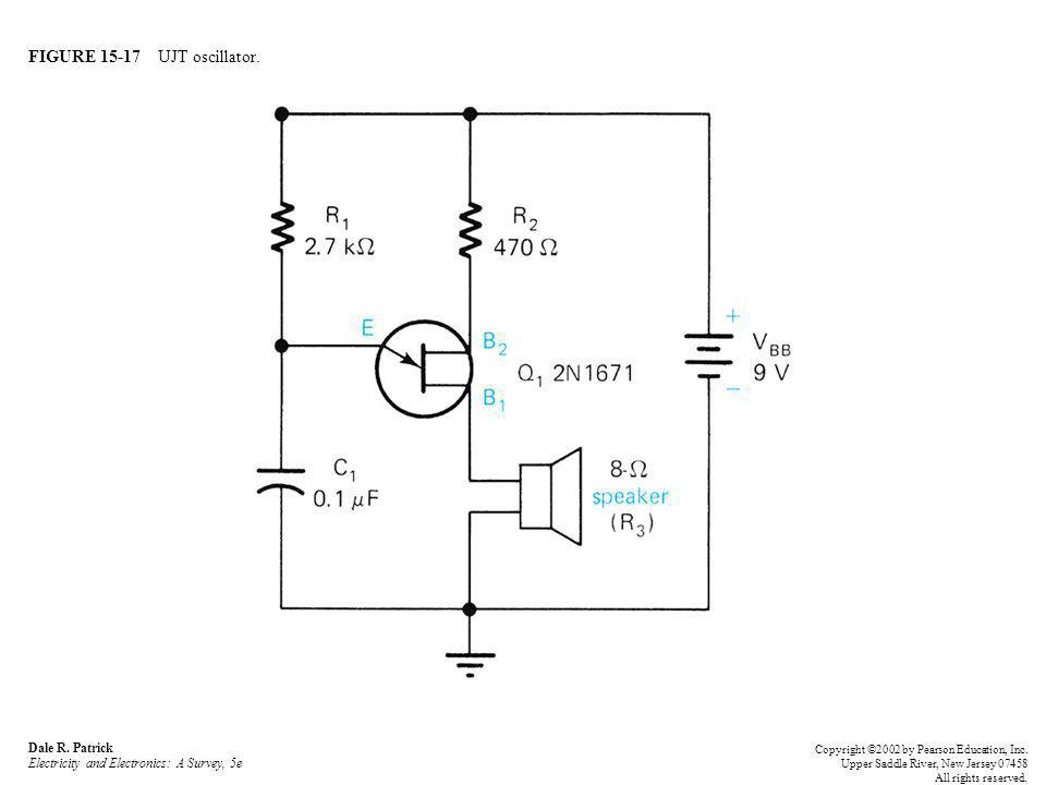 FIGURE 15-17 UJT oscillator. Dale R. Patrick Electricity and Electronics: A Survey, 5e Copyright ©2002 by Pearson Education, Inc. Upper Saddle River,