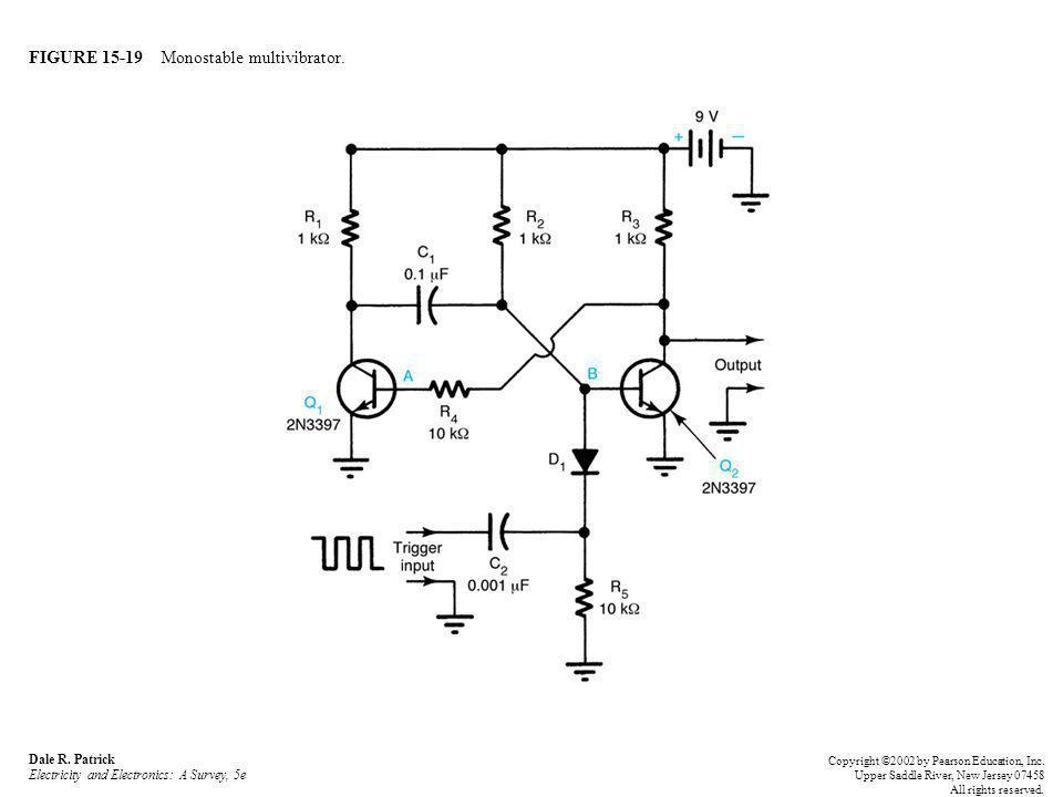 FIGURE 15-20 Monostable multivibrator waveforms: (a) trigger input waveform; (b) differentiator output waveform; (c) monostable multivibrator output waveform.