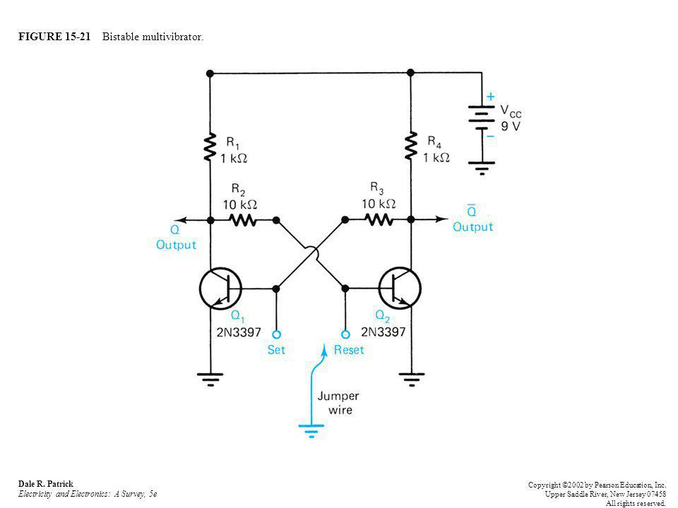 FIGURE 15-21 Bistable multivibrator. Dale R. Patrick Electricity and Electronics: A Survey, 5e Copyright ©2002 by Pearson Education, Inc. Upper Saddle