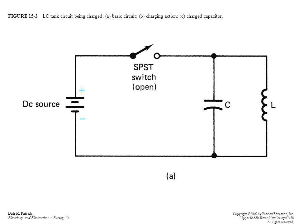 FIGURE 15-3 LC tank circuit being charged: (a) basic circuit; (b) charging action; (c) charged capacitor. Dale R. Patrick Electricity and Electronics: