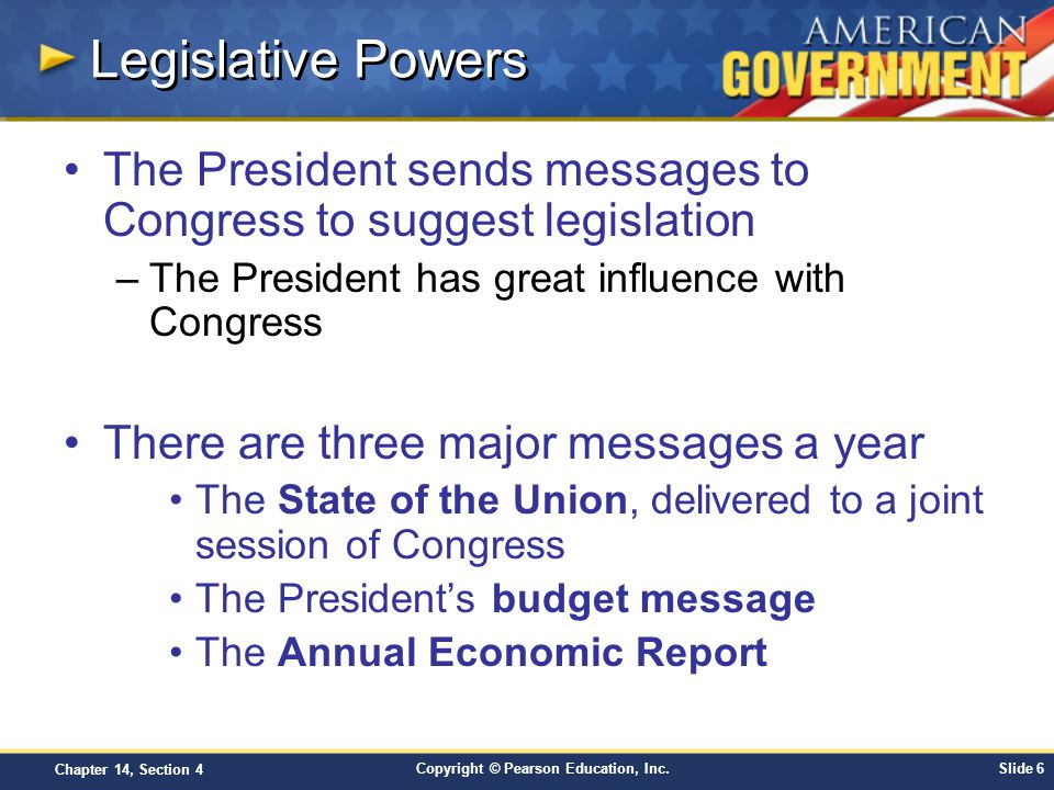 Copyright © Pearson Education, Inc.Slide 7 Chapter 14, Section 4 State of the Union Message Joint Session of Congress