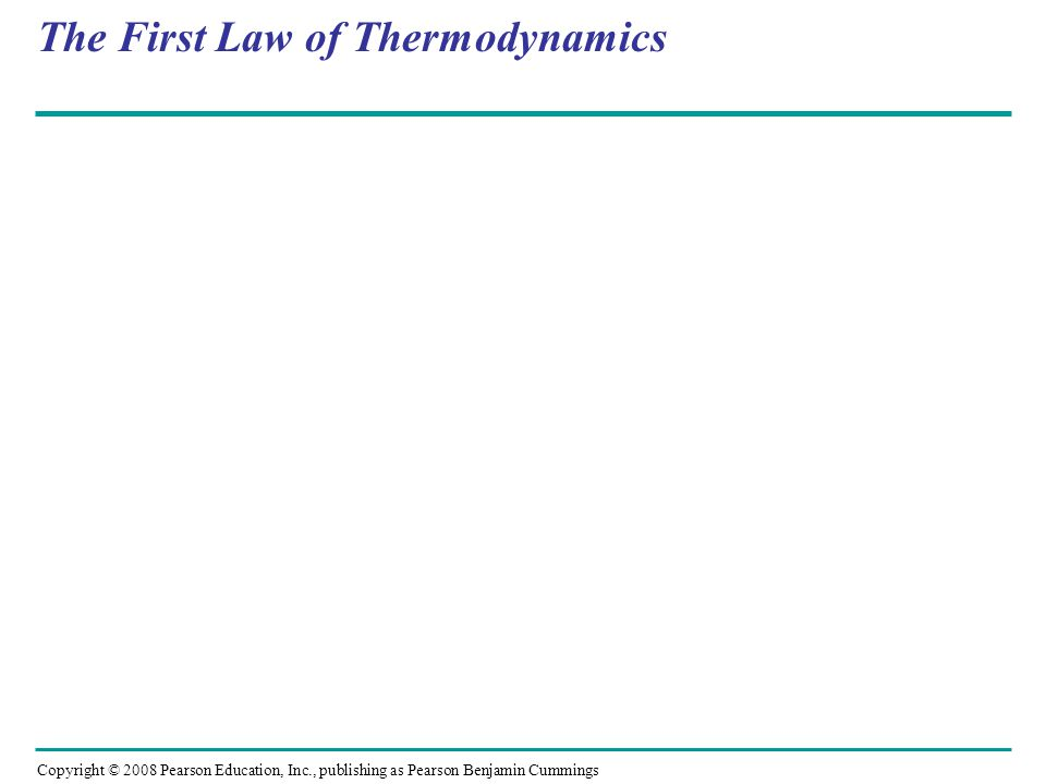 The Second Law of Thermodynamics Copyright © 2008 Pearson Education, Inc., publishing as Pearson Benjamin Cummings