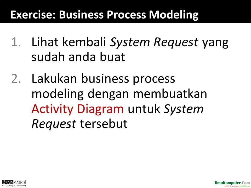 Exercise: Business Process Modeling 1.Lihat kembali System Request yang sudah anda buat 2.Lakukan business process modeling dengan membuatkan Activity Diagram untuk System Request tersebut