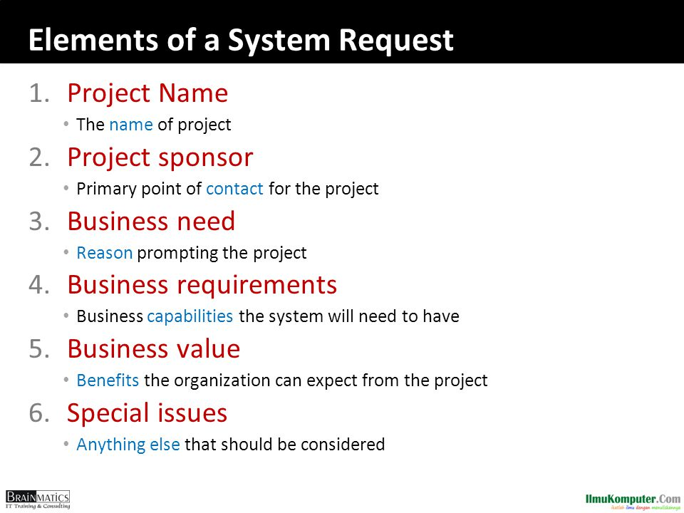 Elements of a System Request 1.Project Name The name of project 2.Project sponsor Primary point of contact for the project 3.Business need Reason prompting the project 4.Business requirements Business capabilities the system will need to have 5.Business value Benefits the organization can expect from the project 6.Special issues Anything else that should be considered