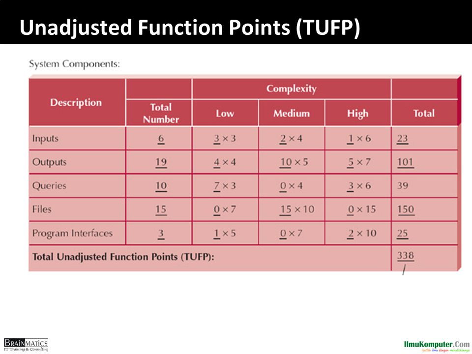 Unadjusted Function Points (TUFP)