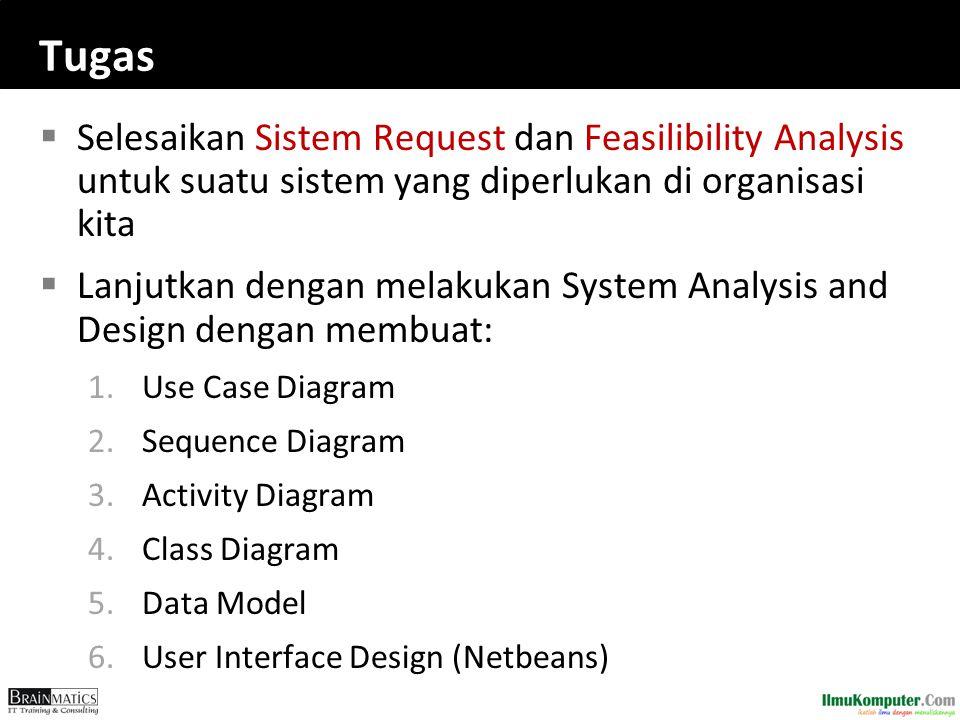 Tugas  Selesaikan Sistem Request dan Feasilibility Analysis untuk suatu sistem yang diperlukan di organisasi kita  Lanjutkan dengan melakukan System Analysis and Design dengan membuat: 1.Use Case Diagram 2.Sequence Diagram 3.Activity Diagram 4.Class Diagram 5.Data Model 6.User Interface Design (Netbeans)