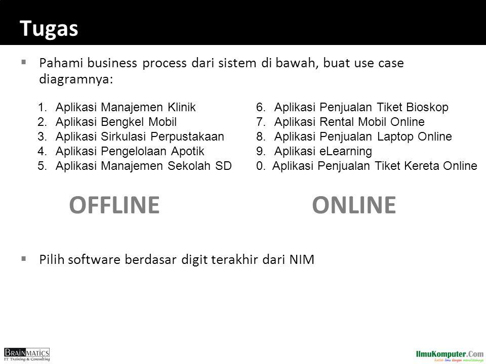 Tugas  Pahami business process dari sistem di bawah, buat use case diagramnya: OFFLINEONLINE  Pilih software berdasar digit terakhir dari NIM 1.
