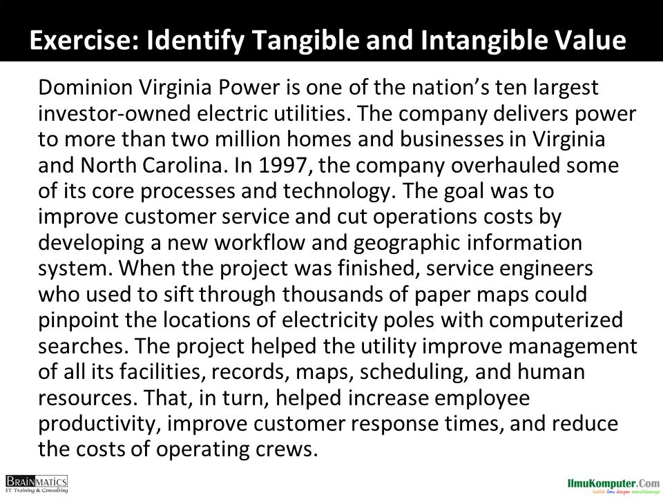 Exercise: Identify Tangible and Intangible Value Dominion Virginia Power is one of the nation's ten largest investor-owned electric utilities.