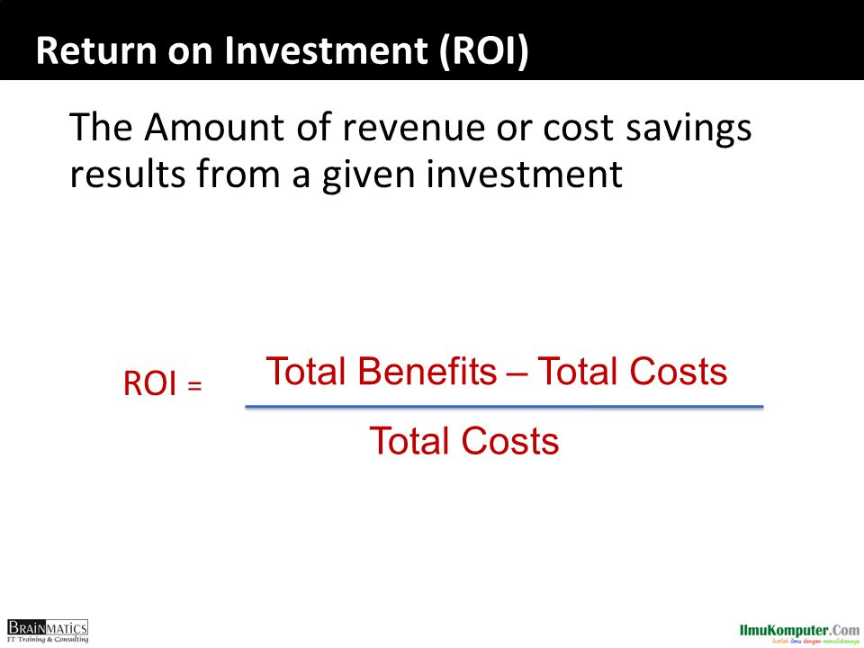 Return on Investment (ROI) The Amount of revenue or cost savings results from a given investment ROI = Total Benefits – Total Costs Total Costs