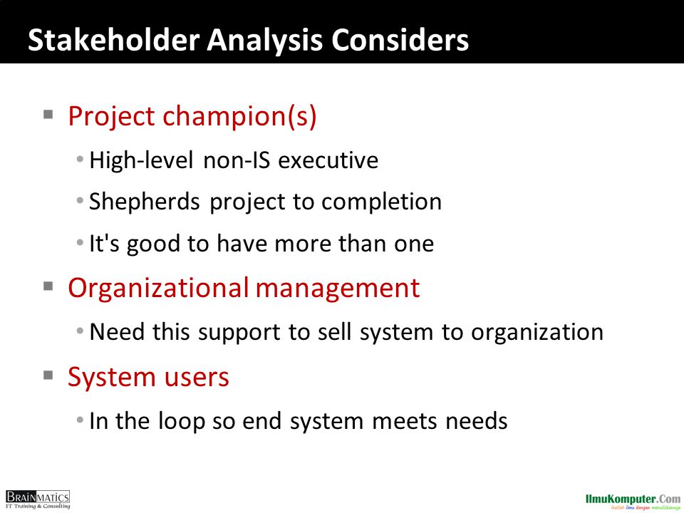 Stakeholder Analysis Considers  Project champion(s) High-level non-IS executive Shepherds project to completion It s good to have more than one  Organizational management Need this support to sell system to organization  System users In the loop so end system meets needs