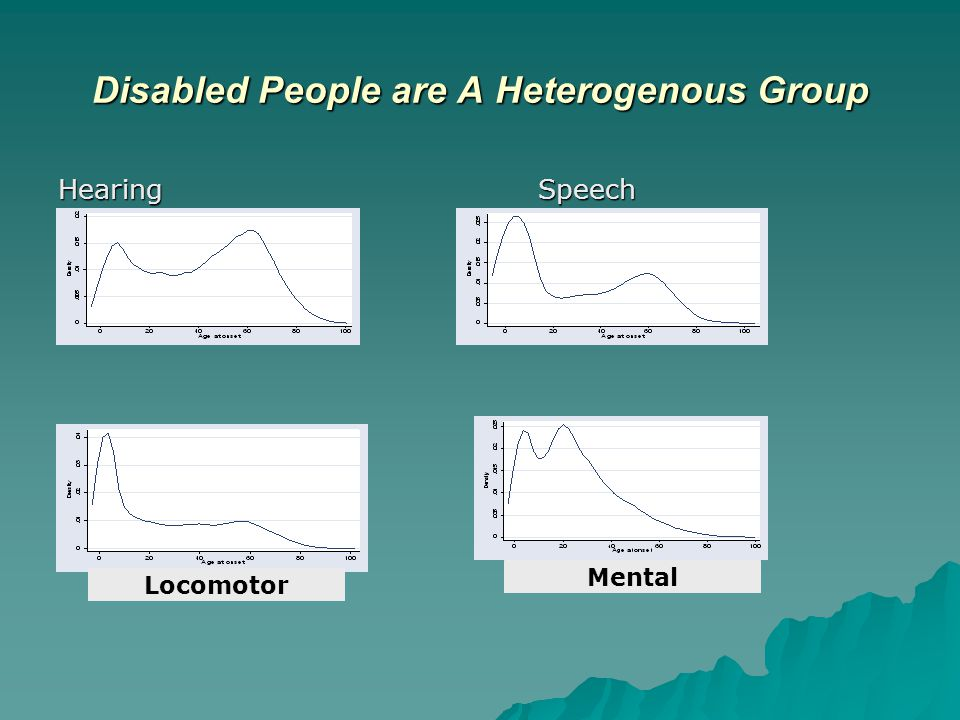 Disabled People are A Heterogenous Group HearingSpeech Locomotor Mental