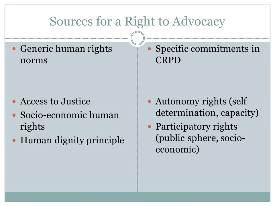 Sources for a Right to Advocacy Generic human rights norms Access to Justice Socio-economic human rights Human dignity principle Specific commitments in CRPD Autonomy rights (self determination, capacity) Participatory rights (public sphere, socio- economic)