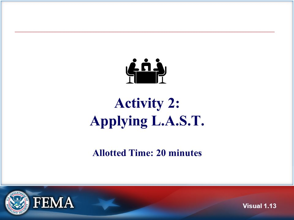Activity 2: Applying L.A.S.T. Allotted Time: 20 minutes Visual 1.13