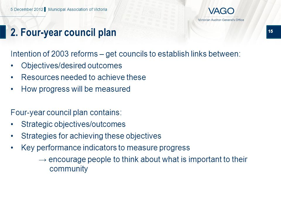2. Four-year council plan 15 Intention of 2003 reforms – get councils to establish links between: Objectives/desired outcomes Resources needed to achi
