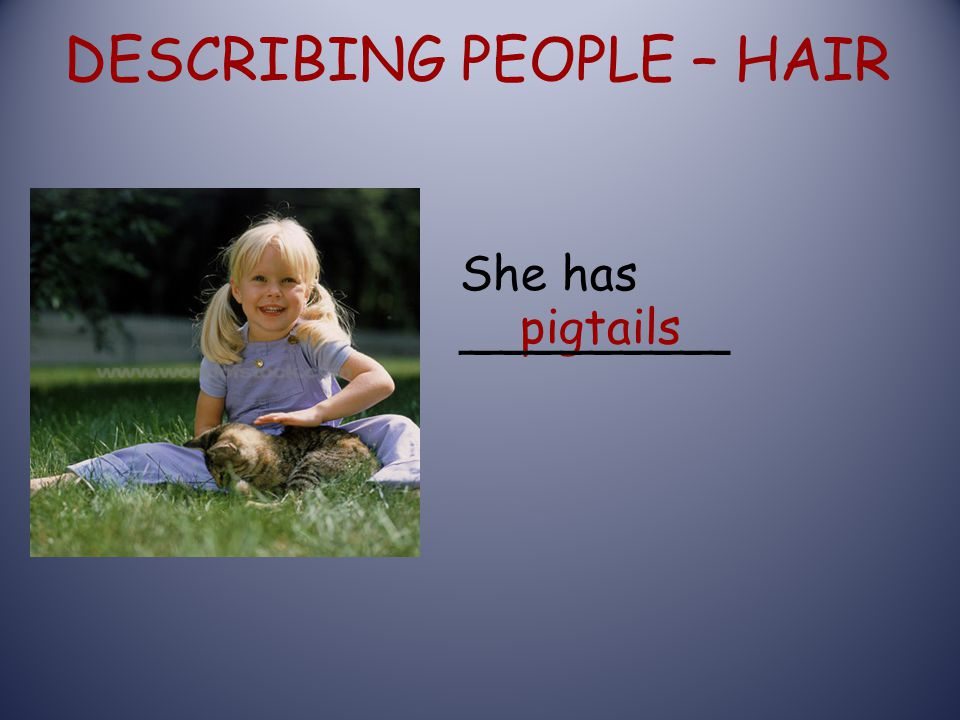 DESCRIBING PEOPLE – HAIR pigtails She has _________