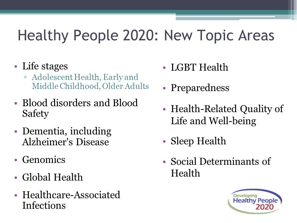 Healthy People 2020: New Topic Areas Life stages ▫Adolescent Health, Early and Middle Childhood, Older Adults Blood disorders and Blood Safety Dementia, including Alzheimer s Disease Genomics Global Health Healthcare-Associated Infections LGBT Health Preparedness Health-Related Quality of Life and Well-being Sleep Health Social Determinants of Health