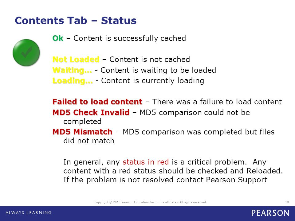 Contents Tab – Status Ok Ok – Content is successfully cached Not Loaded Not Loaded – Content is not cached Waiting… Waiting… - Content is waiting to b
