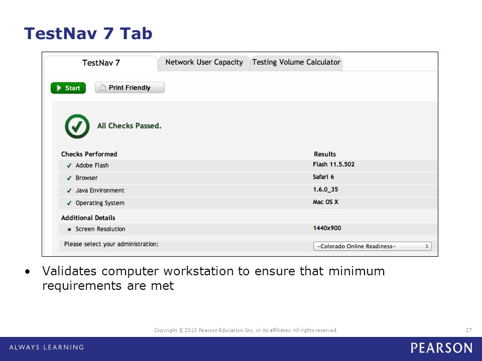 TestNav 7 Tab Copyright © 2013 Pearson Education, Inc. or its affiliates. All rights reserved.27 Validates computer workstation to ensure that minimum