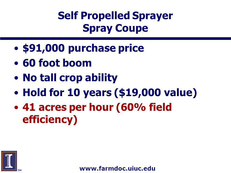 www.farmdoc.uiuc.edu Self Propelled Sprayer Spray Coupe $91,000 purchase price 60 foot boom No tall crop ability Hold for 10 years ($19,000 value) 41 acres per hour (60% field efficiency)