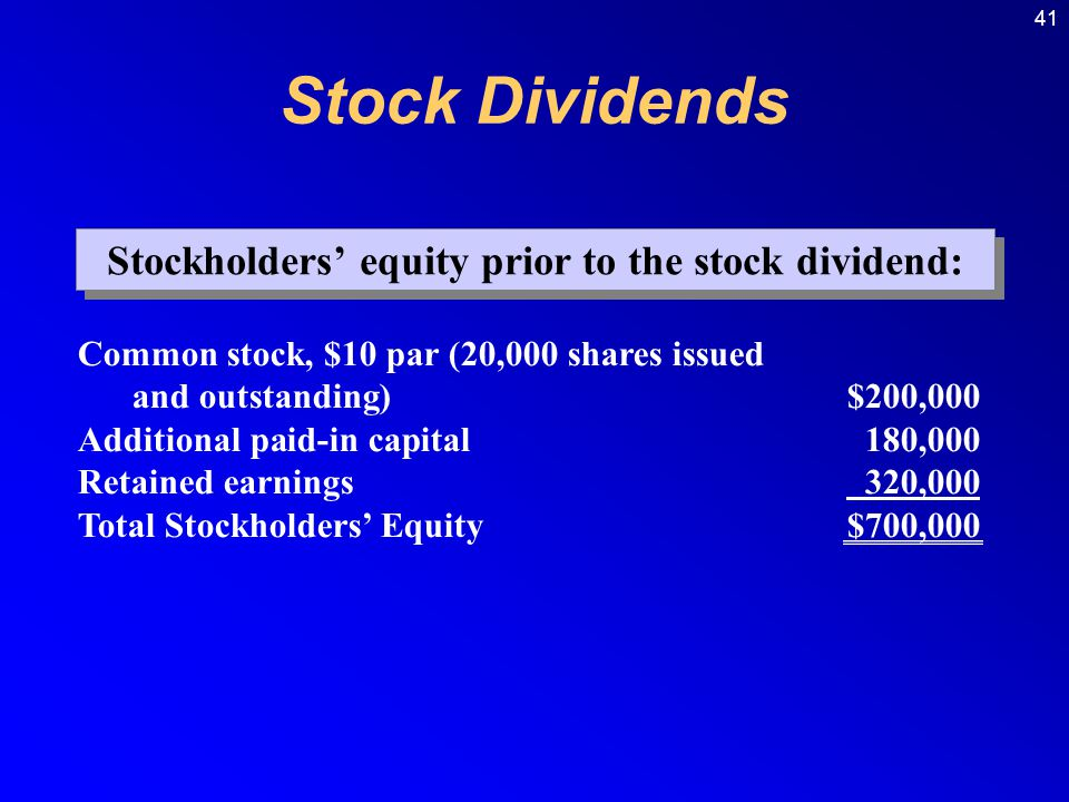41 Common stock, $10 par (20,000 shares issued and outstanding)$200,000 Additional paid-in capital180,000 Retained earnings 320,000 Total Stockholders' Equity$700,000 Stockholders' equity prior to the stock dividend: Stock Dividends