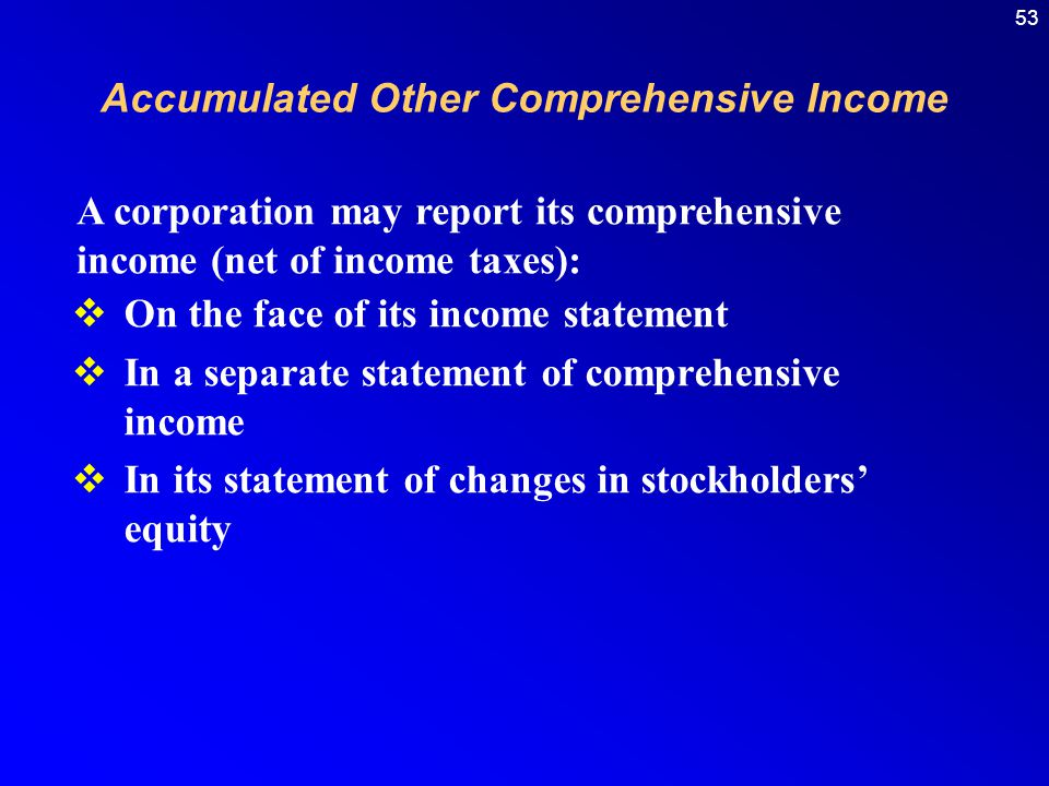 53  On the face of its income statement  In a separate statement of comprehensive income  In its statement of changes in stockholders' equity A corporation may report its comprehensive income (net of income taxes): Accumulated Other Comprehensive Income