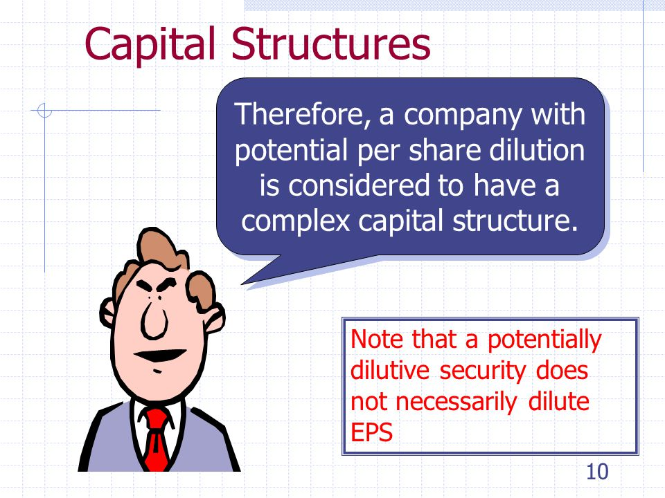 9 Capital Structures Complex Capital Structure: The corporation has one or more instruments outstanding that could result in issuance of additional common shares.