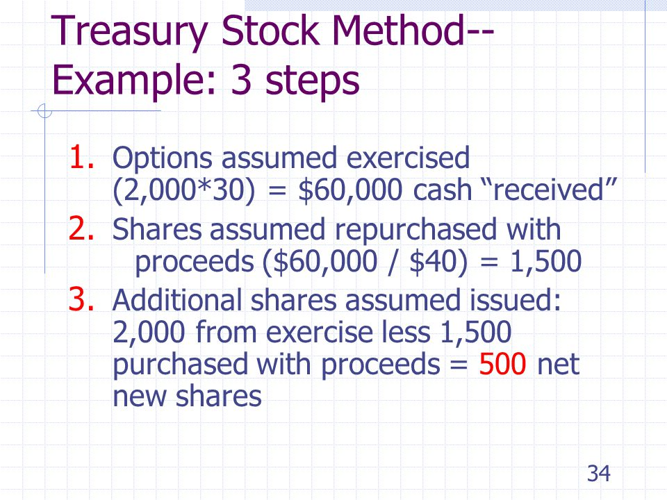 33 Treasury Stock Method--Example Basic EPS = $8,000 6,000 $1.33 Basic EPS = Net income – Preferred dividends Weighted average shares outstanding