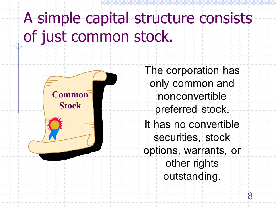 7 Capital structure determines reporting Many companies will report basic earnings per share only Other companies must report BOTH basic and diluted earnings per share It depends on whether the capital structure is Simple, or Complex