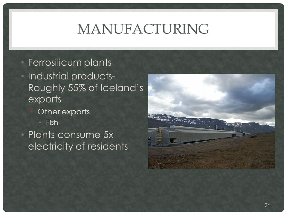 MANUFACTURING Ferrosilicum plants Industrial products- Roughly 55% of Iceland's exports Other exports Fish Plants consume 5x electricity of residents 24
