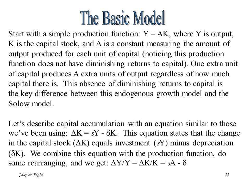 Chapter Eight11 Start with a simple production function: Y = AK, where Y is output, K is the capital stock, and A is a constant measuring the amount o