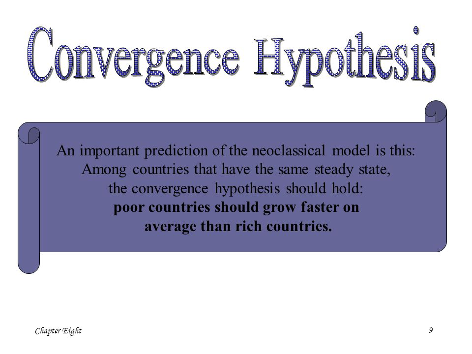 9 An important prediction of the neoclassical model is this: Among countries that have the same steady state, the convergence hypothesis should hold: