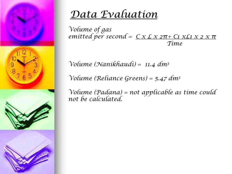 Data Evaluation Volume of gas emitted per second = C x L x 2π+ C1 xL1 x 2 x π Time Time Volume (Nanikhaudi) = 11.4 dm 3 Volume (Reliance Greens) = 5.47 dm 3 Volume (Padana) = not applicable as time could not be calculated.