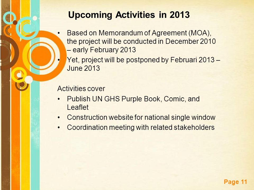 Free Powerpoint Templates Page 11 Upcoming Activities in 2013 Based on Memorandum of Agreement (MOA), the project will be conducted in December 2010 –