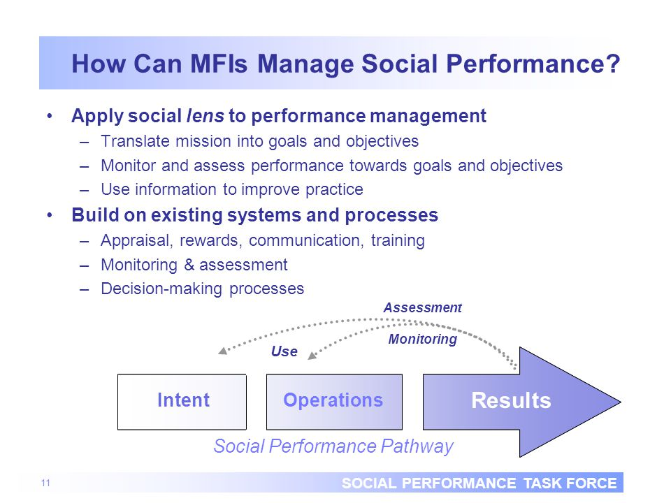 SOCIAL PERFORMANCE TASK FORCE 11 How Can MFIs Manage Social Performance.