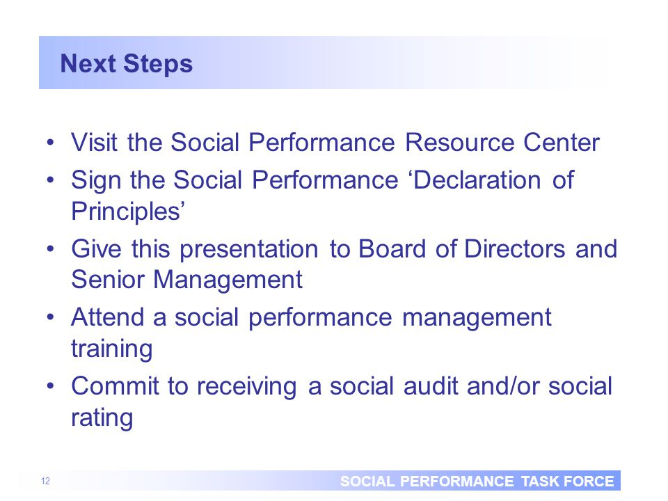 SOCIAL PERFORMANCE TASK FORCE 12 Next Steps Visit the Social Performance Resource Center Sign the Social Performance 'Declaration of Principles' Give this presentation to Board of Directors and Senior Management Attend a social performance management training Commit to receiving a social audit and/or social rating