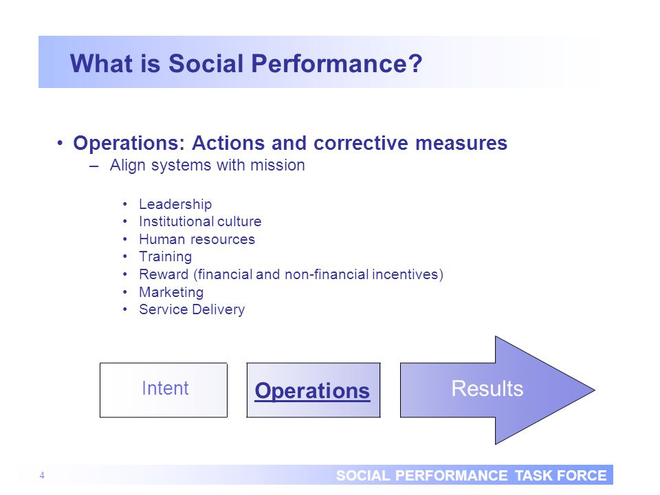 SOCIAL PERFORMANCE TASK FORCE 4 What is Social Performance.