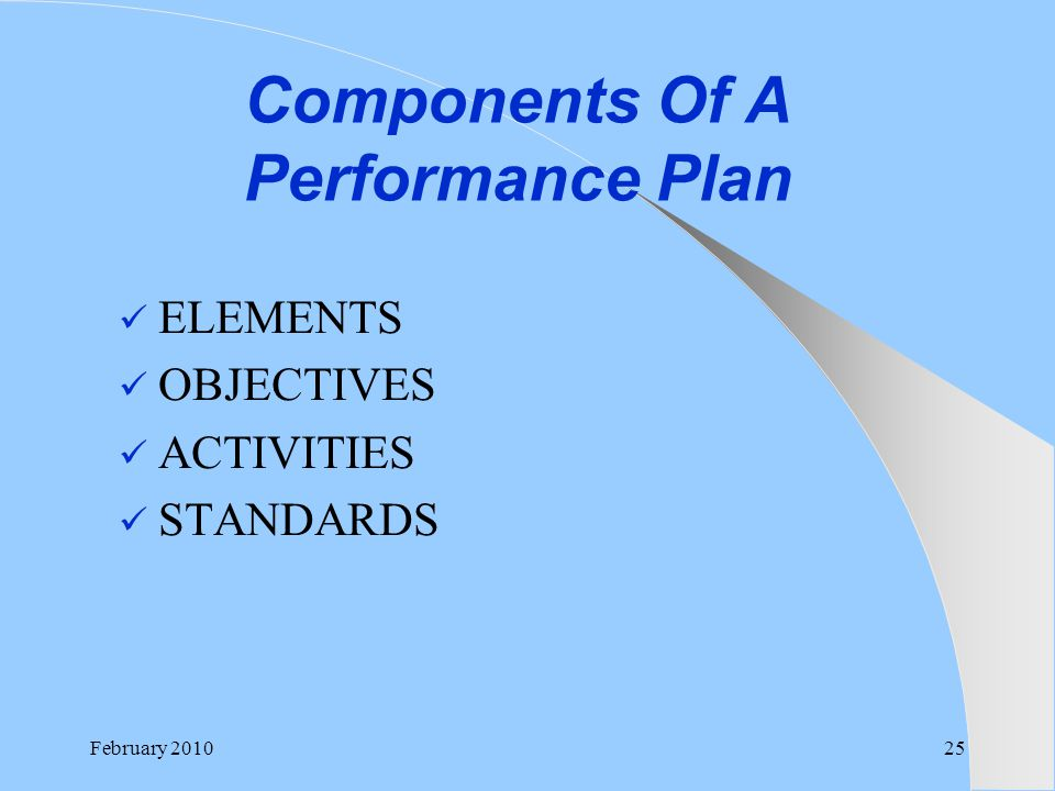Components Of A Performance Plan ELEMENTS OBJECTIVES ACTIVITIES STANDARDS February 201025