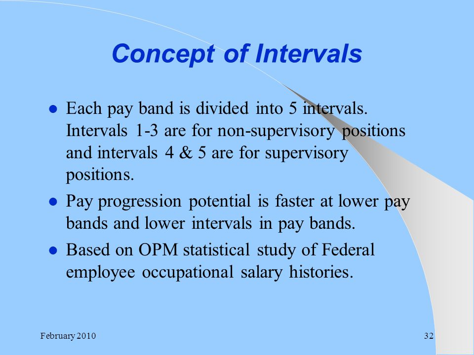 Concept of Intervals Each pay band is divided into 5 intervals. Intervals 1-3 are for non-supervisory positions and intervals 4 & 5 are for supervisor