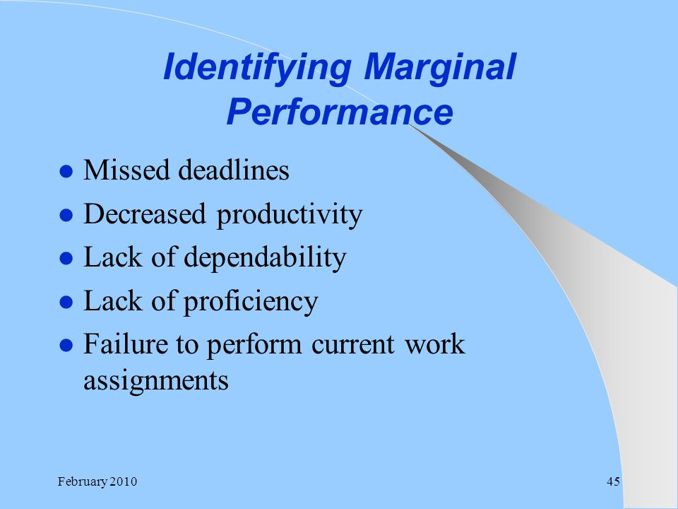 Identifying Marginal Performance Missed deadlines Decreased productivity Lack of dependability Lack of proficiency Failure to perform current work ass