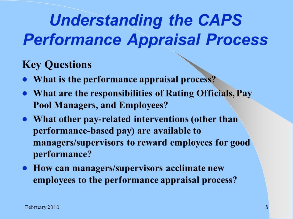Understanding the CAPS Performance Appraisal Process Key Questions What is the performance appraisal process? What are the responsibilities of Rating