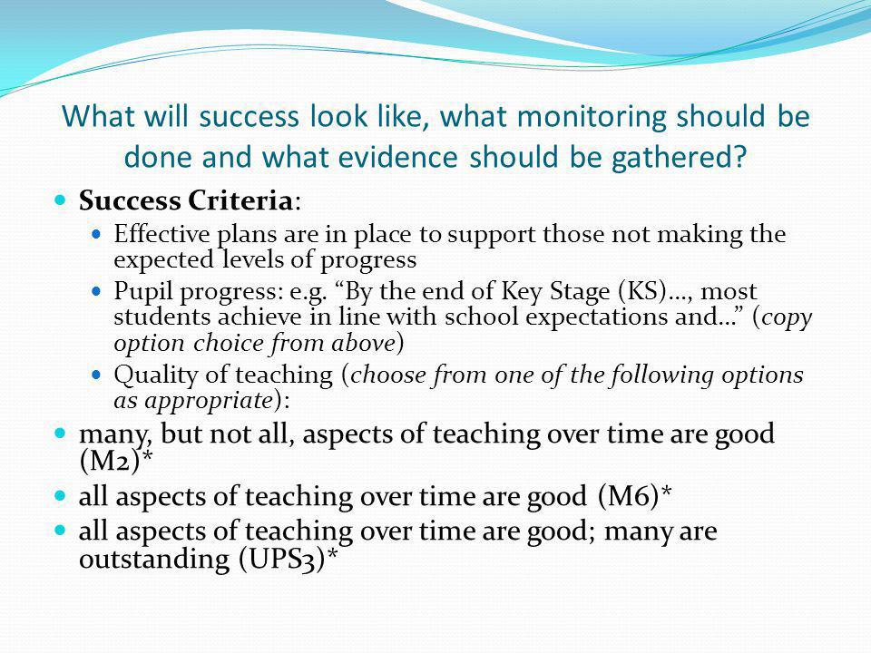 What will success look like, what monitoring should be done and what evidence should be gathered.