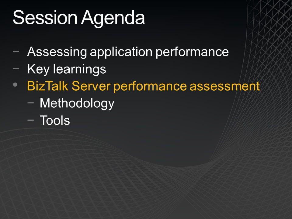 Session Agenda −Assessing application performance −Key learnings BizTalk Server performance assessment −Methodology −Tools