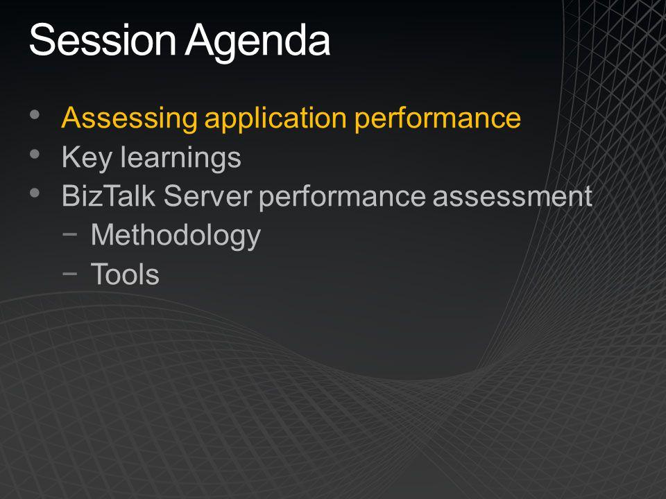 Session Agenda Assessing application performance Key learnings BizTalk Server performance assessment −Methodology −Tools