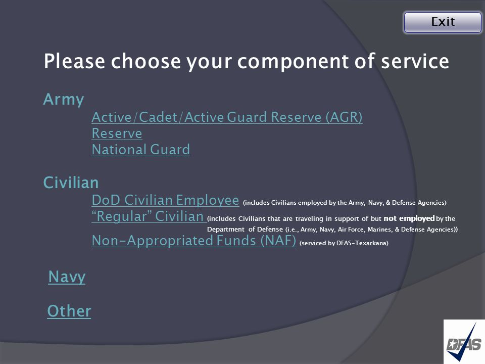 Navy Noncombatant Evacuation Operations (NEO)Travel Claim  Please submit your claim/advance to DFAS-IN Travel Pay: Special Actions Division for processing.