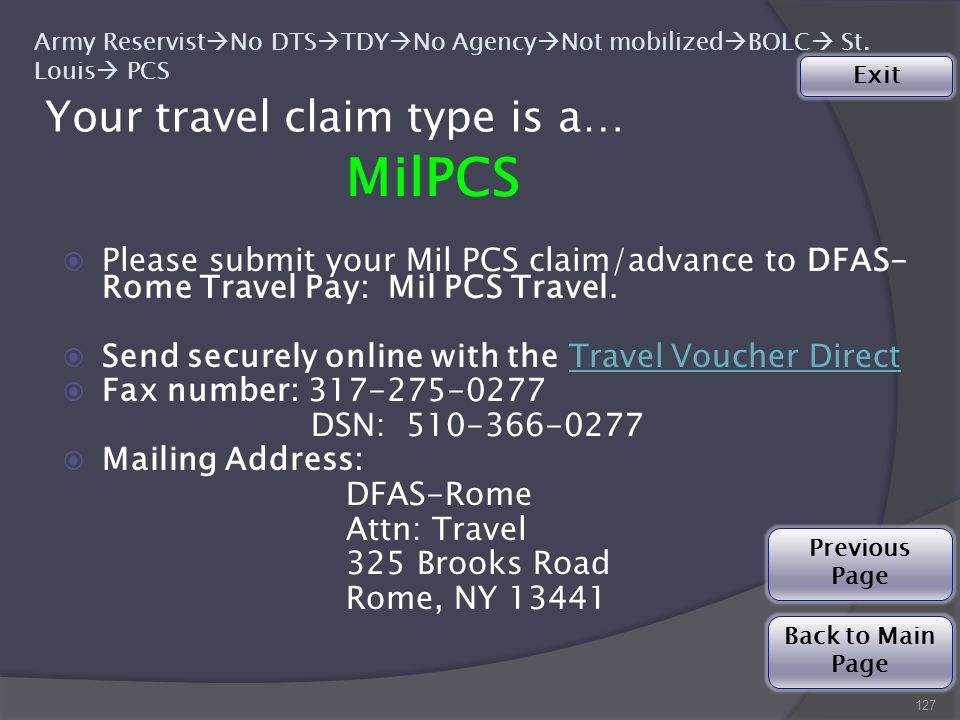 Your travel claim type is a… 127 Army Reservist  No DTS  TDY  No Agency  Not mobilized  BOLC  St.