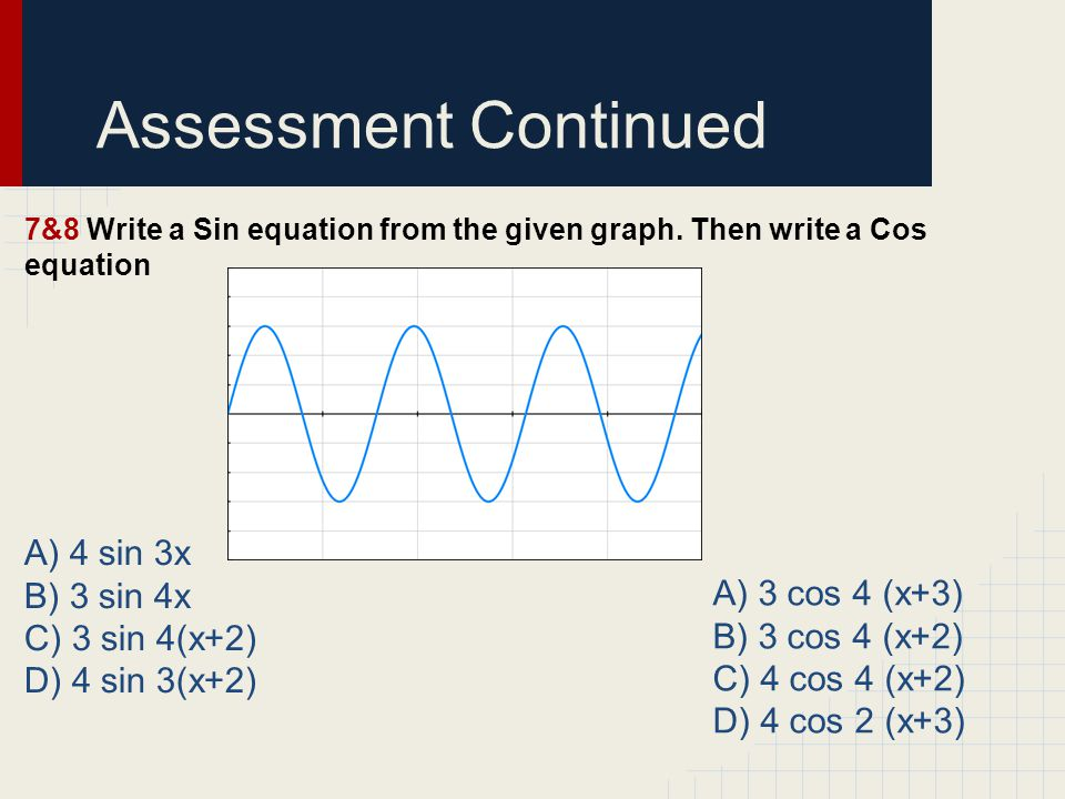 Assessment Continued 7&8 Write a Sin equation from the given graph.
