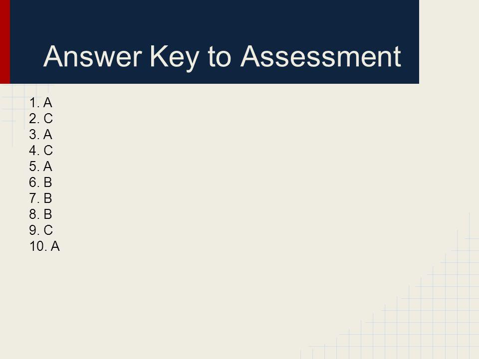 Answer Key to Assessment 1. A 2. C 3. A 4. C 5. A 6. B 7. B 8. B 9. C 10. A
