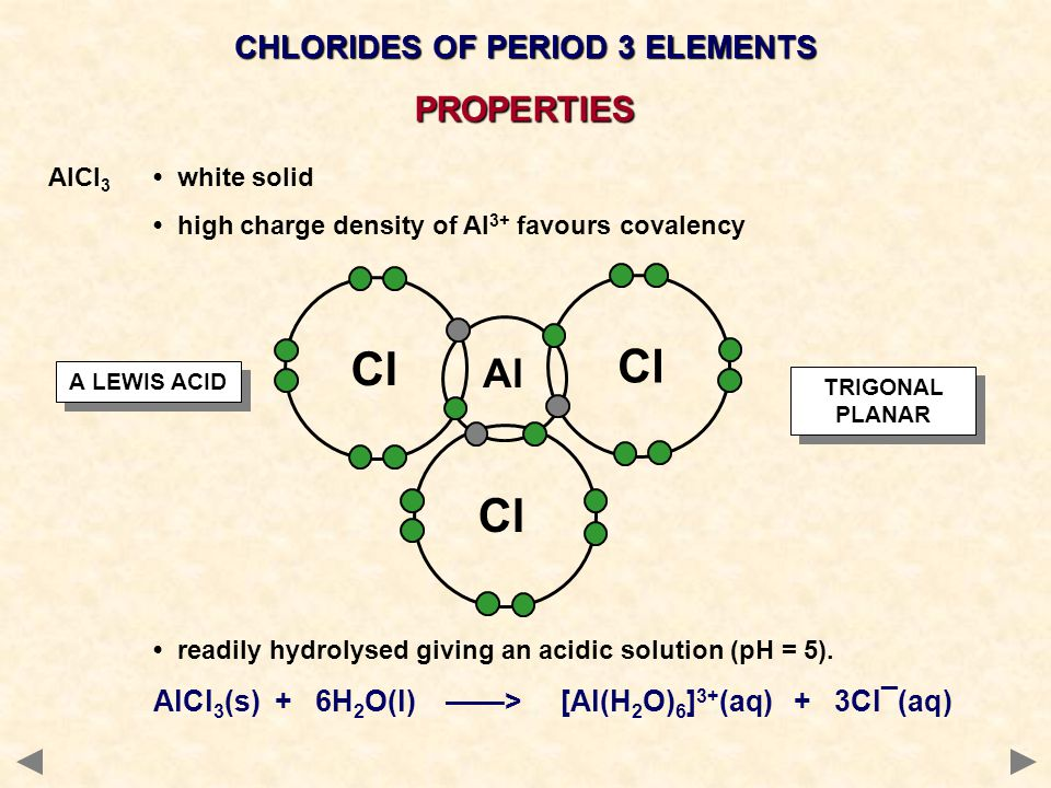 AlCl 3 white solid high charge density of Al 3+ favours covalency readily hydrolysed giving an acidic solution (pH = 5).